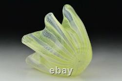 Signé Venini Murano Art Glass Latticino Yellow White Handkerchief Vase