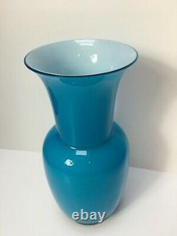 Signé Venini Murano Italian Art Glass Teal Green Floral Vase