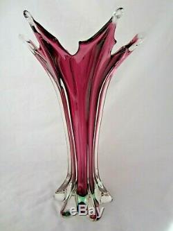 Spectaculaire 36cm Murano Poli Seguso Sommerso Violet Et Vert Vase En Verre D'art