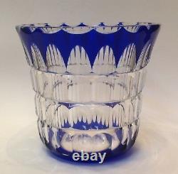 St Saint Louis Français Cut Crystal Cobalt Blue Vase Art Déco C1925 Paris France