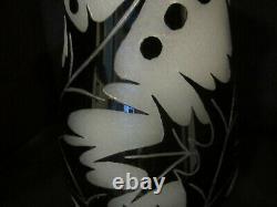 Steuben Acid Cut Black/alabaster Glass Vase Art Déco Sea Holly 1928 10h
