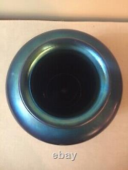 Steuben Art Glass Grand Vase Bleu Aurene