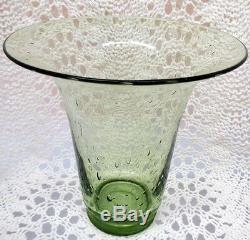 Steuben Beau Vase En Verre Vert Art Bulles