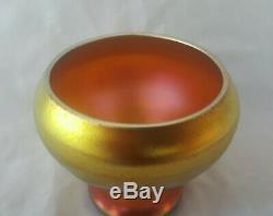 Steuben Gold Aurene 2.25 Art Vase En Verre Signé Aucune Réserve