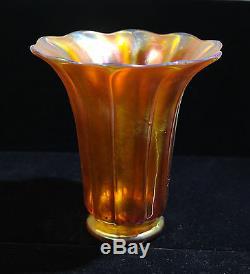 Steuben Gold Aurene Art Vase Trompette En Verre