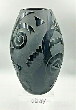 Steven Correia Miroir Gravé Noir Sur Vase De Cylander Art Déco Noir #14/200- 1985