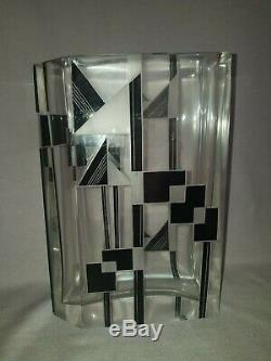 Stylisé Tchèque Art Deco So Deco Tchèque Karel Palda Verre Noir Géométrique Vase