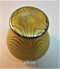 Superbe 4 Quezal Art Nouveau Miniature Art Glass Vase Loops C. 1910 Antique