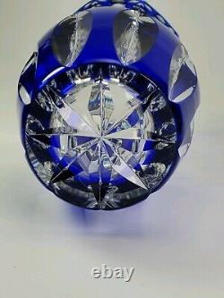 Superbe Antique Val St. Lambert Art Glass Blue Cut To Clear Vase