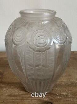 Superbe Français Vase En Verre Art Déco Par Andre Hunebelle C1930 22.5cm Tall