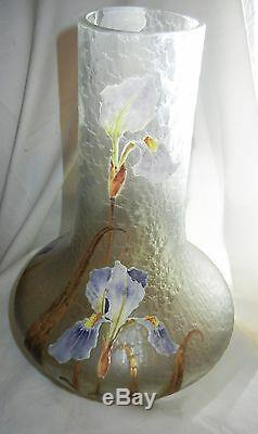 Superbe Mont Joye Cameo Art Vase En Verre Émaillé Glace 15.5h