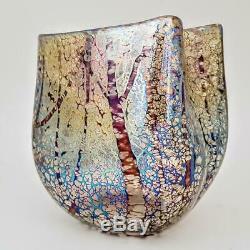 Superbe Norman Stuart Clarke Arbre Étude Iridescent British Art Studio Vase En Verre