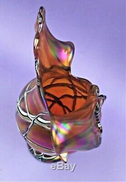 Superbe Palme Koenig Art Nouveau Loetz Style Vase En Verre Grande Forme Exe Cond