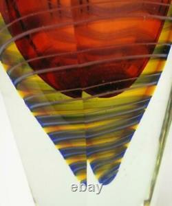 Superbe Vase En Verre Contemporain Tchèque Sommerso Pavel Havelka Style