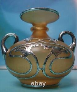 Superbe Vase En Verre Massif En Argent Massif Art Nouveau Art Kralik