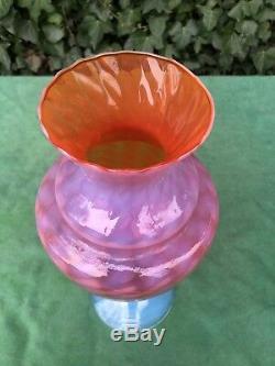 Superbe Vase En Verre Opalescent Art Empoli Murano Opale Italienne Des Années 1950