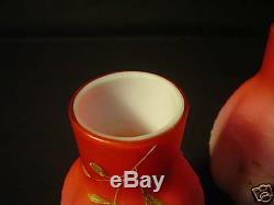 Superbes Paires De Vases En Verre D'art Émaillé Peachblow Webb, J. Barbe Décorées
