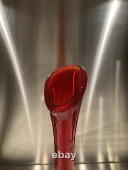 Tall 23 1/2myers Amberina Blenko Bouteille Vase Art Decanter En Verre MCM MID Century
