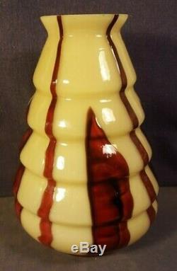 Tchécoslovaquie Vase En Verre D'art De Bohême Caramel & Oxblood Franz Welz Art Déco