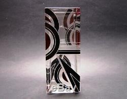 Tchèque Art Déco Modernisme Cristal Vase En Verre Noir Et Rouge Émail K Palda