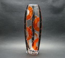 Tchèque Art Déco Modernisme Verre Clair Vase Avec Orange Et Noir Émail K Palda