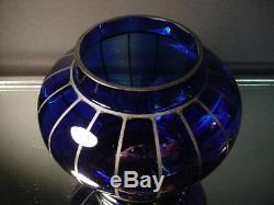 Tchèque Art Glass Wiener Werkstätte 4 1 / 2ht Cobalt Vase Withsilver Powolny Art Déco