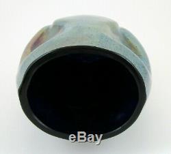 Tchèque Bohême Kralik Silberiris Bleu Cobalt Art Glass Vase Loetz Type