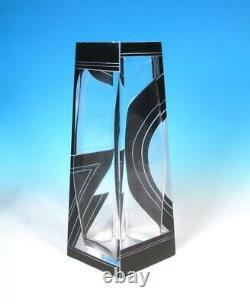 Tchèque Karl Palda Deco Art Glass Geometric Flashed Cut Black Satin Crystal Vase Tchèque Karl Palda Deco Art Glass Geometric Flashed Cut Black Satin Crystal Vase Tchèque Karl Palda Deco Art Glass Geometric Flashed Cut Black Satin Crystal Vase Tchèque Karl