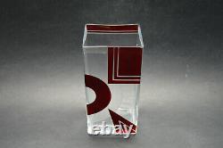 Tchéquie Art Déco Modernisme Vase Cristal Clair En Verre Avec Émail Rouge K Palda