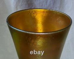 Tiffany Favrile / Studios Vase En Verre D'art En Bronze Base 17.5 Nouveau Pas De Réserve