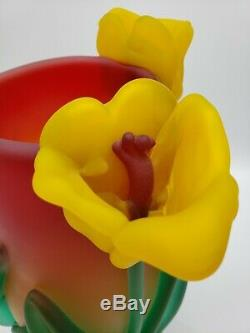 Tommie Rush Verre Trois Fleurs Tulipe Blown Art Vase Signé Lourd