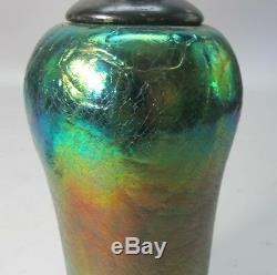 Très Bien Iridized Loetz Bohemian Art Glass Vase Comme Lampe C. 1910 Antique