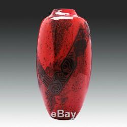 Très Grand Legras Art Déco En Verre Vase Cut Acide C1925