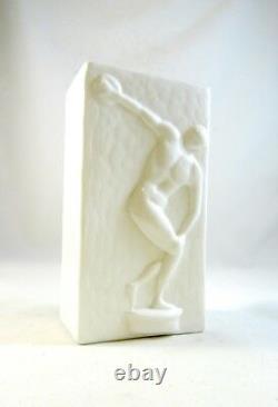 Très Rare Allemand Art Déco Opalines Vase Jeux Olympiques 1936 Discus Athlète