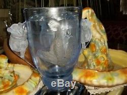 Très Rare Art Déco Bleu Givré Koalas Clair Vase Sur Le Stand Avec La Fleur Grenouille