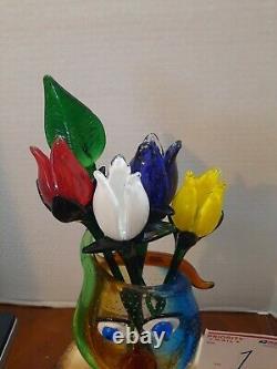 U Choisissez 1-12 Vénitien Murano Picasso Visage En Verre D'art Vase & Lg Murano Fleurs