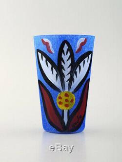 Ulrica Hydman Vallien Pour Kosta Boda, Suède. Vase En Bouche Bleu Verre Soufflé De L'art