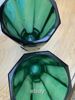 Une Paire Sklo Union Rudolf Schröter Art Deco Emerald Green Vases Octagonales 11558