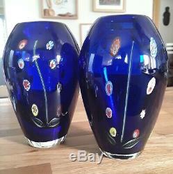 Une Poire Vintage Italienne Murano De Venise Millefiori Bleu Cobalt Art Vases En Verre