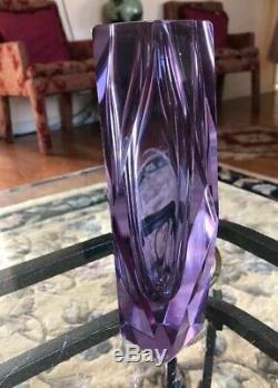 Unique Murano Facettes Sommerso Verre D'art Italien Violet Vase