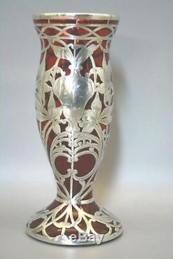 Vase À Superposer En Argent Massif Art Nouveau Verre Floral Gravé Rouge Rubis