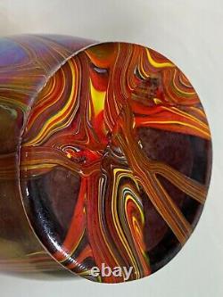 Vase Antique D'améthyste De Forme Libre De Forme Iridescente De Verre D'art Fileté De Loetz