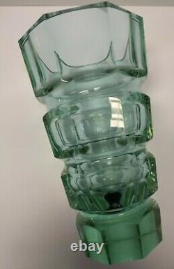 Vase Antique En Verre Art Déco Vert Violet Attribué À Josef Hoffmann Pour Moser