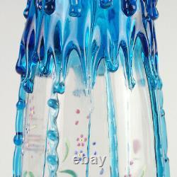 Vase Antique En Verre D'art Victorien W Blue Rigaree & HP Floral, Harrach Moser 13