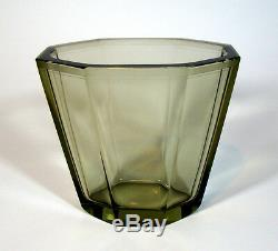 Vase Art Déco En Verre, Art Glass Elis Bergh Pour Kosta Glasswork Sweden, 1930s, Signé