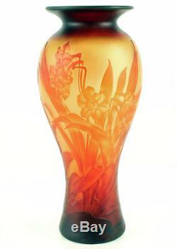 Vase Art Nouveau Fleurs Orange-rouge Osterglocken, Vase Jugendstil Daffodil En Verre