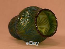 Vase Artistique En Verre Loetz Bleu Et Vert Irisé