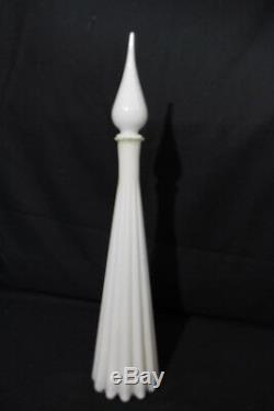 Vase Avec Flacon Décanté En Verre D'art Déco Blanc Et Blanc Côtelé, Italie, Italie
