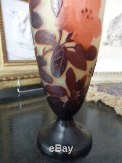 Vase Balustre Art Nouveau Emile Pate De Verre Galle Cameo Verre Gravé Monnaie