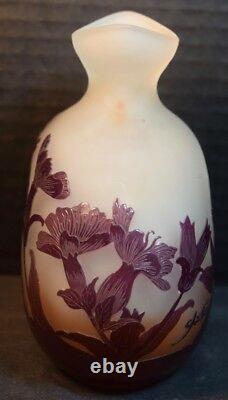 Vase D'armoire En Verre D'art De Galle Cameo Avec Des Fleurs